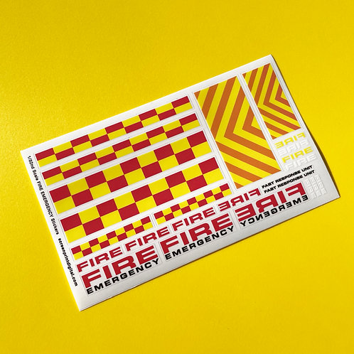 SLOT CAR SCALEXTRIC 1/32nd UK FIRE EMERGENCY scale stickers decals full set