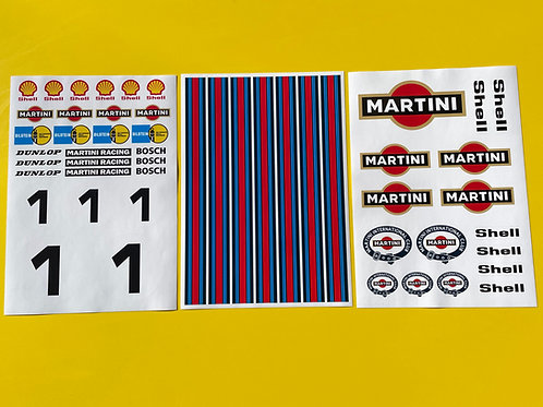 1/5th 1:5 scale Large RC MARTINI stickers decals FG MCD HPI BAJA 5T LOSI etc