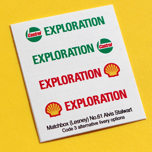 Matchbox Lesney No. 61 Alvis Stalwart Shell Castrol sticker decal Code 3