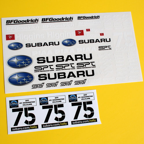 RC 10th scale SUBARU Mt Washington Hillclimb David Higgins sticker decal set