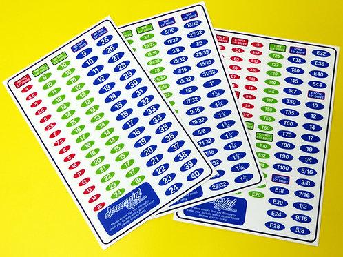 SOCKET SET IDENTIFICATION TOOL LABEL stickers METRIC, SAE,TORX DRIVE 3 sheets