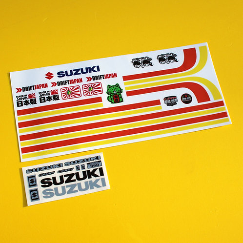 RC STRIPE AND METALLIC BADGE Sticker Decal set for WPL D12 SUZUKI CARRY
