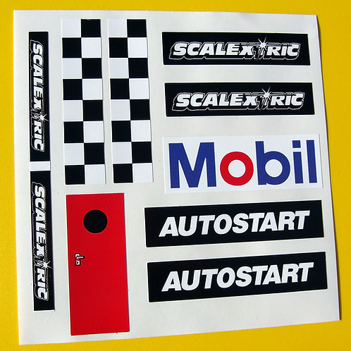 SLOT CAR SCALEXTRIC 1/32nd vintage AUTOSTART reproduction stickers decals