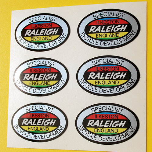 RALEIGH Vintage style 'SPECIALST BICYCLE DEVELOPMENT' metallic Stickers Decals