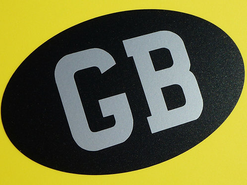 Classic Vintage retro Silver on Satin black 'GB' Sticker MINI MGB Triumph Lotus