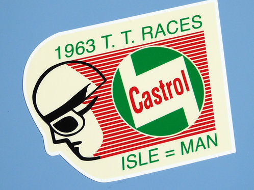 ISLE OF MAN TT 1963 'CASTROL' vintage retro Motorbike Motorcycle Decals Stickers