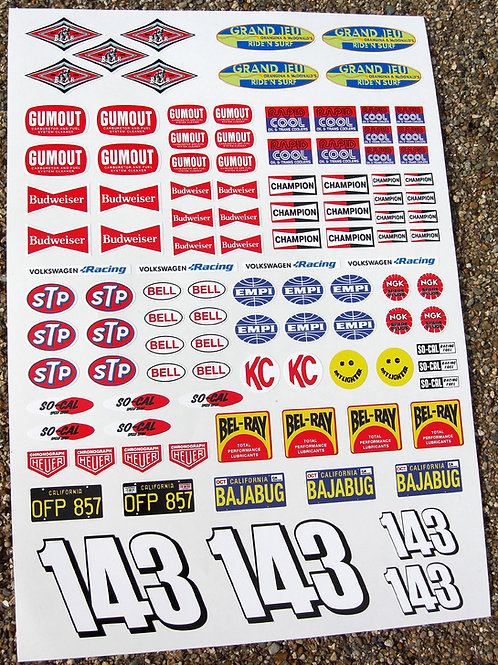 RC 10th scale Vintage BAJA RACER Decals stickers ideal for Tamiya Sand Scorcher