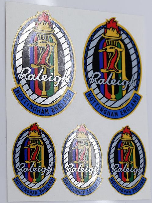 Raleigh multi-coloured heron Vintage style Head Badge Cycle Bike Stickers
