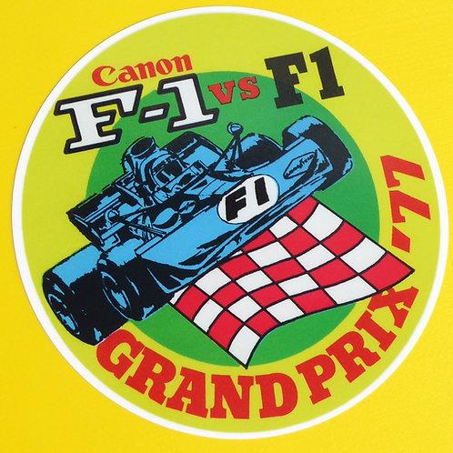 Vintage retro style F1 canon Grand Prix 1977 Formula One stickers decals x2