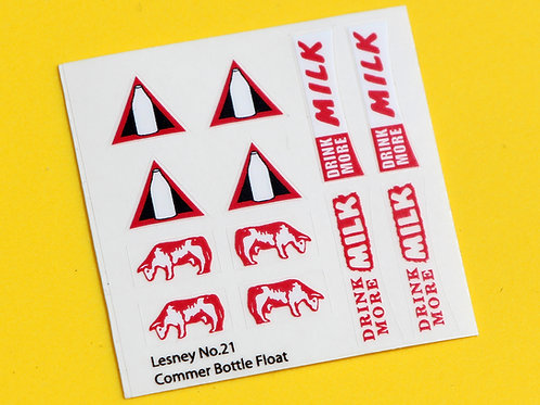 Lesney No.21 'Commer Bottle milk Float' replacement sticker decal set