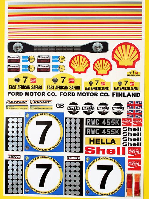 RC Tamiya Escort Mk1 Hannu Mikkola 1972 SAFARI RALLY winner stickers decal