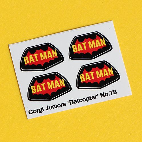 Corgi Junior 'BATCOPTER' No.78 Bat Logo sticker decal reproductions x4