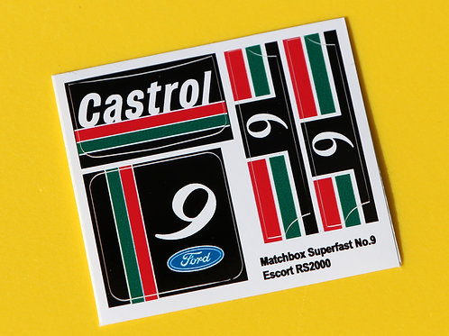 MATCHBOX SUPERFAST No9 ESCORT RS2000 prototype castrol sticker decal repros