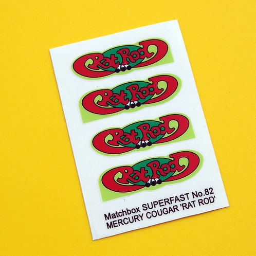 Matchbox SUPERFAST No.62 'RAT ROD' Mercury Cougar sticker decal reproductions