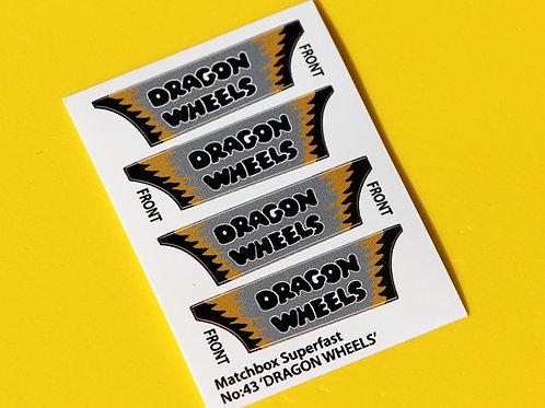 MATCHBOX SUPERFAST No.34 DRAGON WHEELS 'CODE 3' METALLIC sticker decal repro