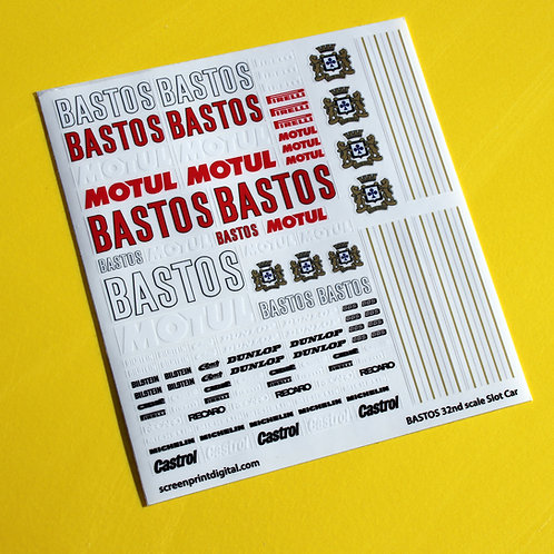 SLOT CAR SCALEXTRIC 1/32nd 'BASTOS' Rally Race car sponsor stickers decals 1:32