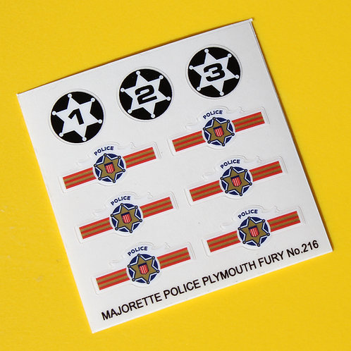 Majorette Diecast Plymouth Fury Police car No.216 sticker decal reproductions
