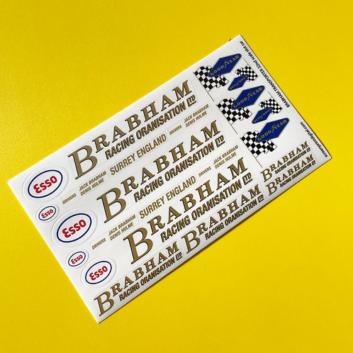 BRABHAM Race Team Transporter SLOT CAR 32nd SCALE Decals Stickers SCALEXTRIC