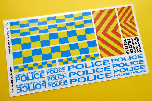 SLOT CAR SCALEXTRIC 1/32nd scale UK 'POLICE' INTERCEPTOR stickers decals car set