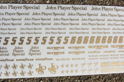 SLOT CAR SCALEXTRIC 1/32nd scale 'JPS' stickers decals