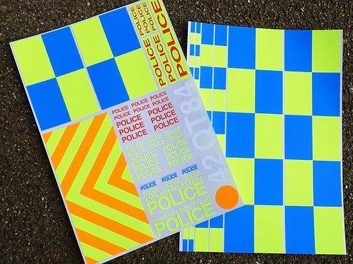 RC 'POLICE INTERCEPTOR' 1/10th scale decals stickers SUBARU MITUBISHI EVO set 3