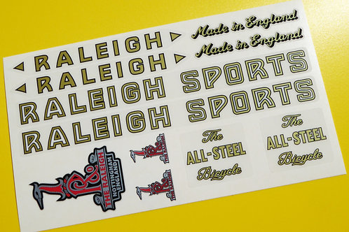 Raleigh Sports Vintage Style 'All steel Bicyle frame sticker set