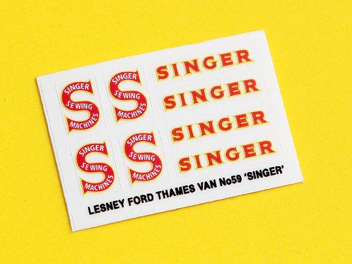 Lesney No.59 'SINGER Thames Van' replacement sticker decal set