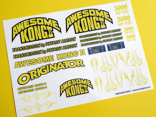 RC 10th scale 'AWESOME KONG 2' pre cut stickers decals, Monster Truck 4x4