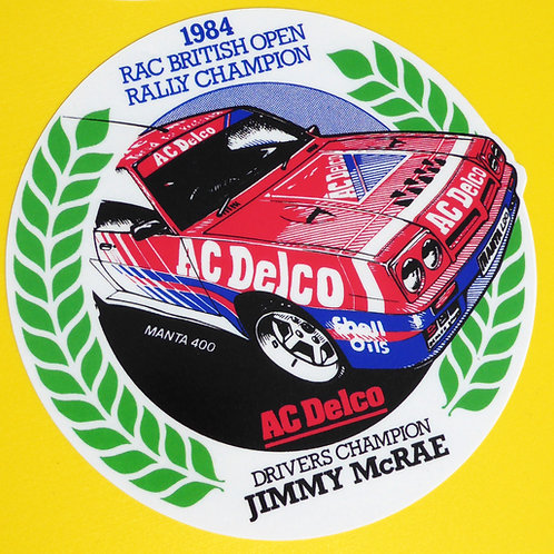 Vintage retro style 'Jimmy McRae' OPEL MANTA 1984 RAC Rally stickers decals x2