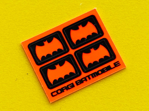 Corgi 'BATMOBILE' 267 door Bat Logo sticker decal reproductions fluorescent x4