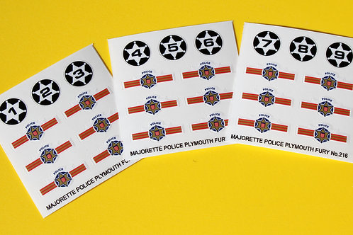 Majorette Plymouth Fury Police car No.216 sticker decal reproductions 9 car set!