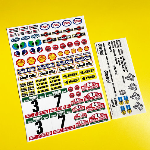 RC 10th Scale RALLY PORTUGAL 1982 stickers decals door numbers logos