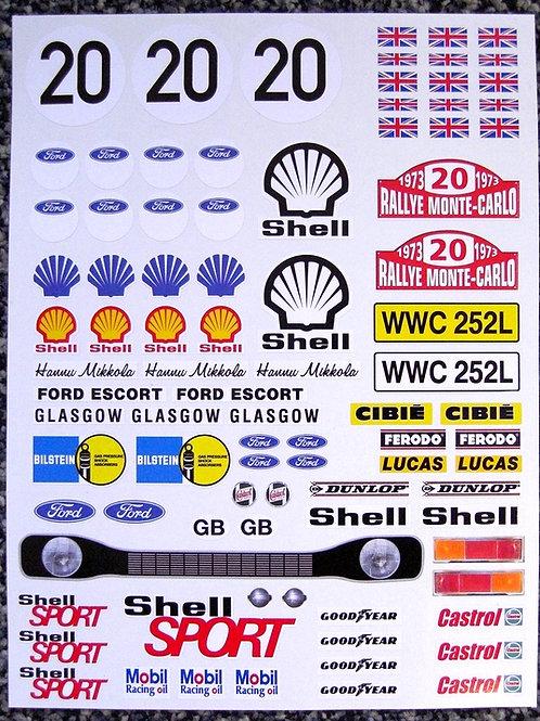 RC Tamiya Escort Mk1 Hannu Mikkola Rally stickers decal
