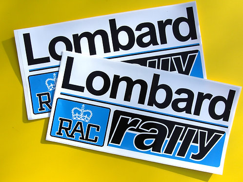 Lombard RAC Rally pair vintage Decals Stickers large black/blue