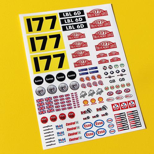 18th scale Mini Monte Carlo '177' Rauno Aaltonen stickers for Diecast /RC Mini