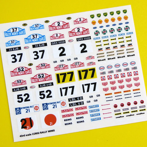 Corgi Rally Mini Monte Carlo etc Rally sticker decal reproductions, 43rd scale 4