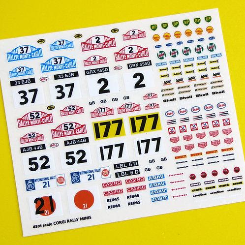 Corgi Rally Mini Monte Carlo etc Rally sticker decal reproductions, 43rd scale 4