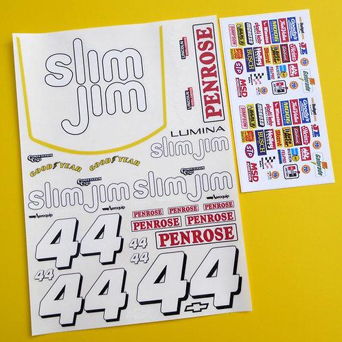 RC 10th SCALE Nascar 'SLIM JIM 44' Decals Stickers Tamiya Xray TC5 Kyosho