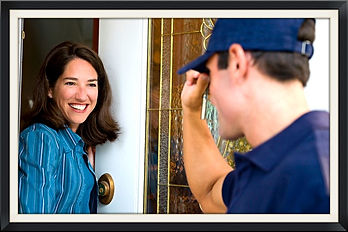 service tech greeting homeowner