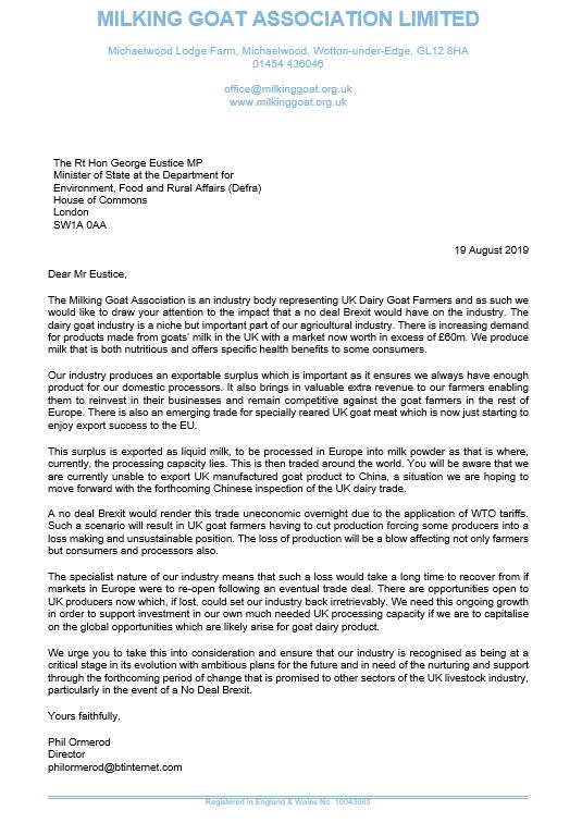 MGA Open Letter to DEFRA Minister 13.08.