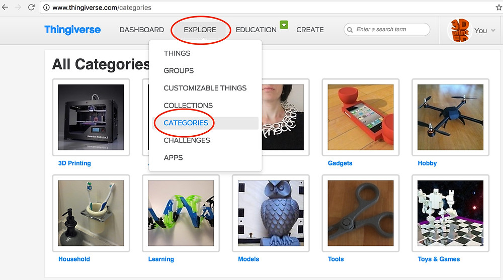 thingiverse-categories