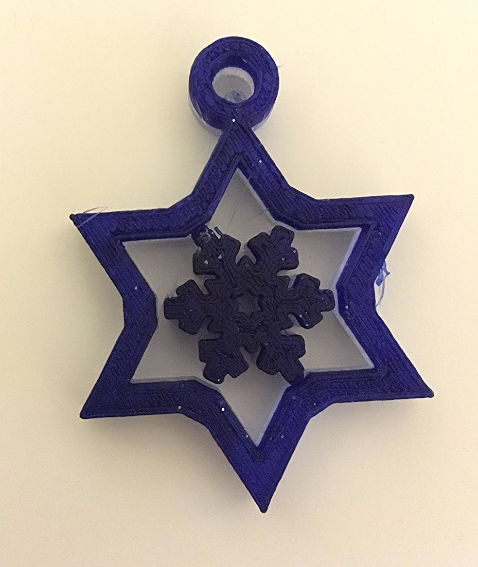 הדפסת תלת מימד- תליון מגן דוד עם פתית שלג מסתובב