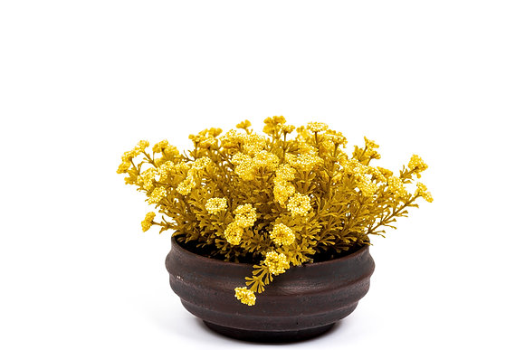 עציצים מלאכותיים פרחים צהובים כלי קטן עגול