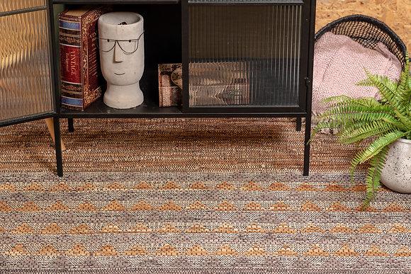 שטיח חבל משולב עור