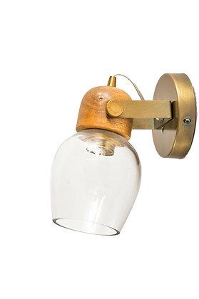 מנורת קיר במראה ייחודי משולב גוון ועץ