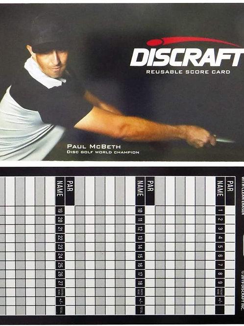 Discraft herbruikbare Score Kaart
