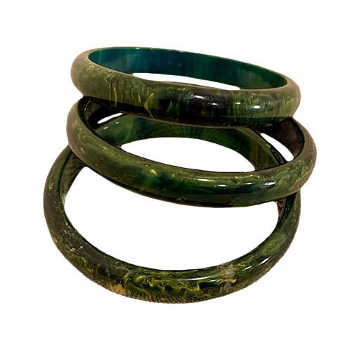Marbled Bakelite Bangles - Green