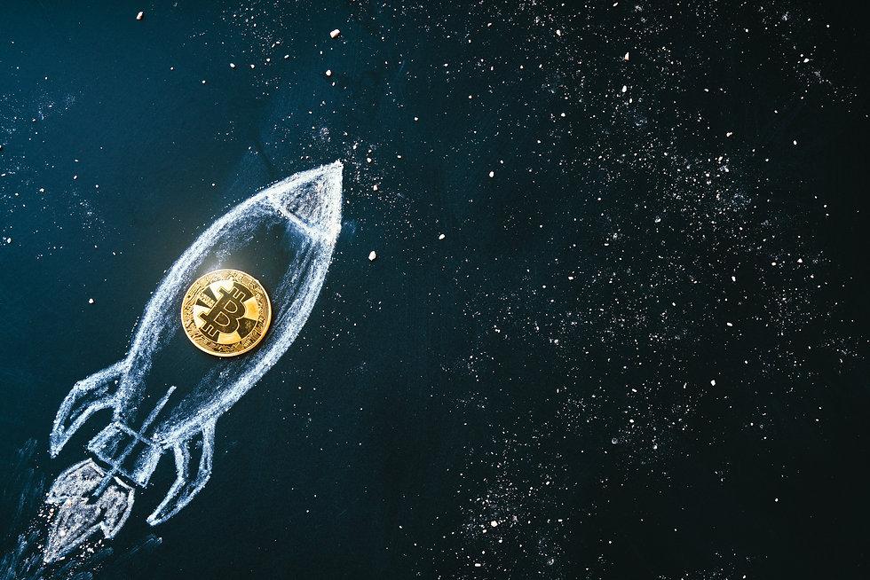 Bitcoin logo rocket launcher, cryptocurr
