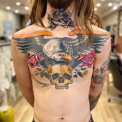 Neo Traditional Eagle and Skull Tattoo