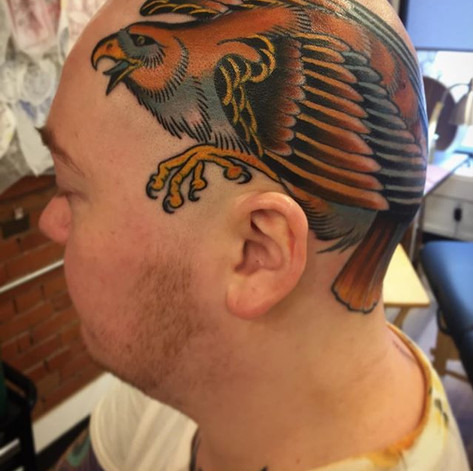 Colour Hawk Head Tattoo